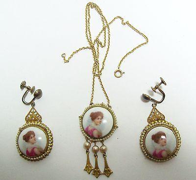 Antique Art Nouveau 14kt 14K Gold Portrait & Pearl Dangle Necklace & Earrings