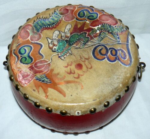 Chinese Hand Painted Dragon & Phoenix Drum Double Sided Percussion