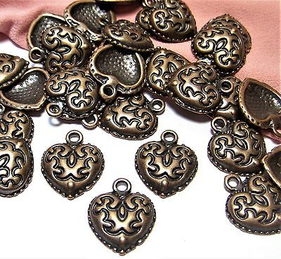 COPPER HEART CHARMS-50 PCS-LOVE-WESTERN DESIGN-JEWELRY MAKING SUPPLIES LOT-DROPS