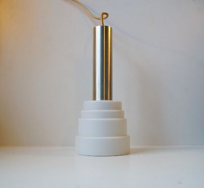 Rare Scandinavian modern tiered opal glass pendant lamp Luxus Louis Poulsen era