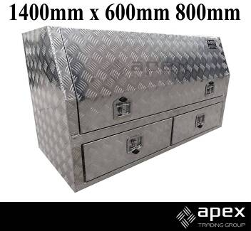 NEW APEX ALUMINIUM TOOL BOX TOOLBOX FOR UTE ENCLOSED 2 DRAWER