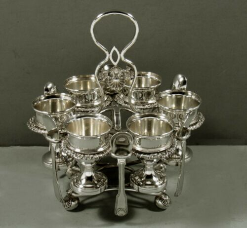 Chinese Export Silver Egg Set                c1830 Maker P - RARE