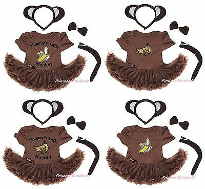 Mommy Little Banana Monkey Costume Brown Cotton Bodysuit Girls Baby Dress NB-18M](Little Monkey Costume)