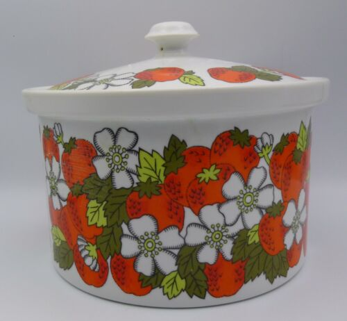 Vtg FITZ & FLOYD Oven to Table Casserole Dish Red & White Floral Strawberry