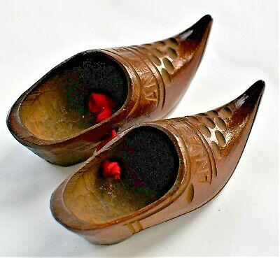 Antique Anvers Antwerp Miniature Wooden Shoes Tied with Red Ribbon 7cm long