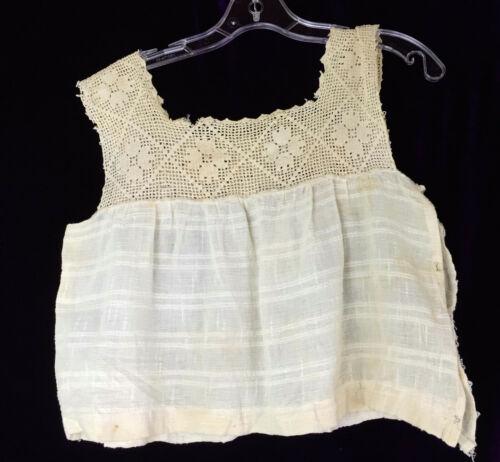 Antique Homespun Camisole Corset Cover Crochet Filet Lace