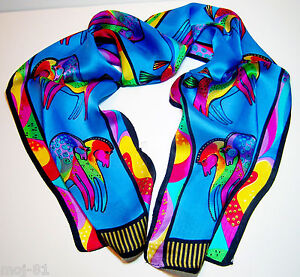 New-100-Silk-Abstract-Animal-Horse-Print-Stole-Neck-Long-Scarf-Shawl-Wrap-Blue