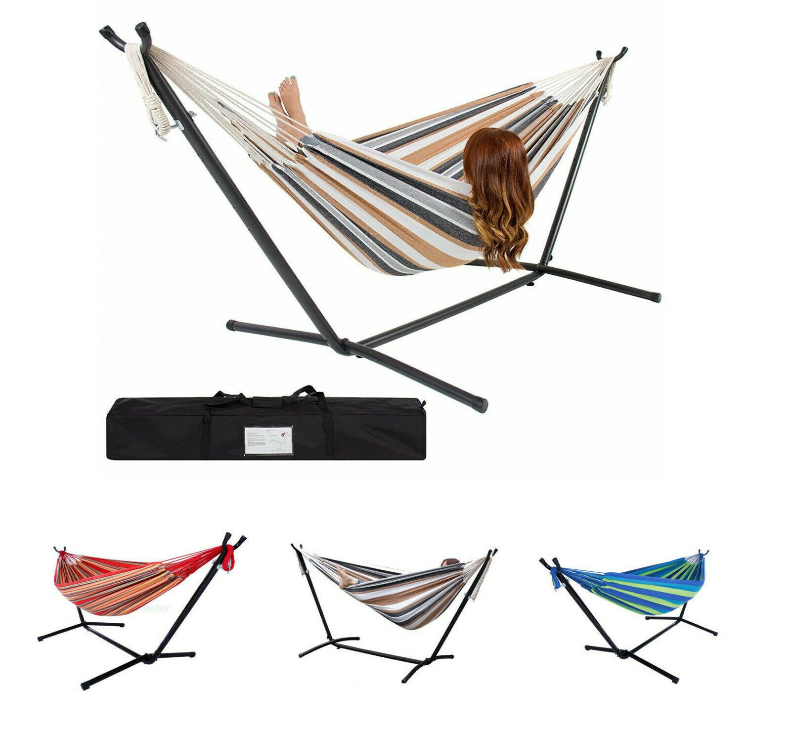 New Double Hammock With Space Saving Steel Stand Includes Ca