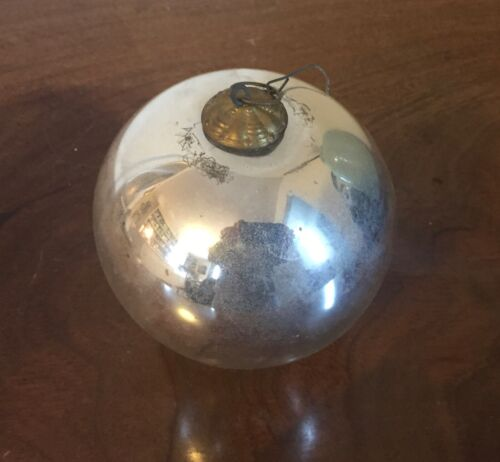 Large Antique 19th c. German Mercury Glass Kugel Christmas Ornament Silver