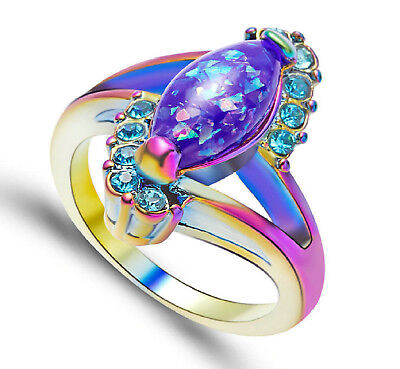 Marquise Jewelry Box - Marquise Cut 2.5ct Opal Ring Rainbow Gold Filled Band US Sz 5 - 11 Free Gift Box