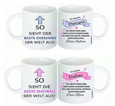 Beste/r Ehemann/Ehefrau der Welt Tasse Geschenk Idee Spruch Hochzeit Jahrestag