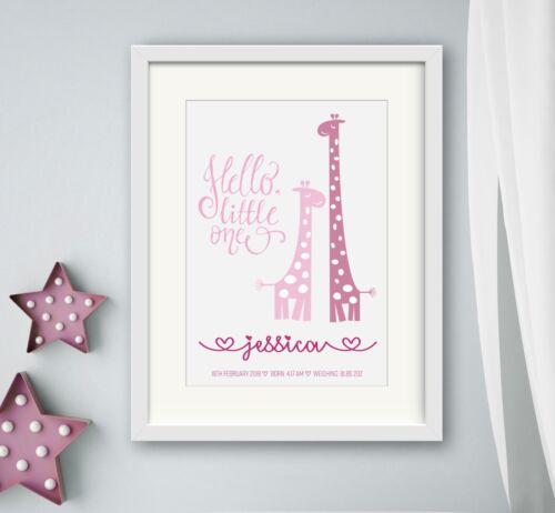 GIRL New birth Newborn Personalised baby print Christening Gift Wall Art Giraffe