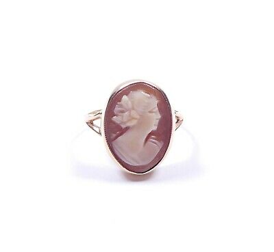 Vintage Cameo Solitaire Ring 9 Carat Yellow Gold 3.4g