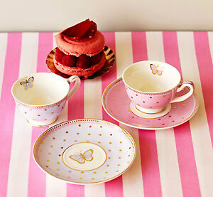 Bombay-Duck-Miss-Woodhouse-Set-of-2-mini-Teacups-Saucers-Tea-Cup-Party