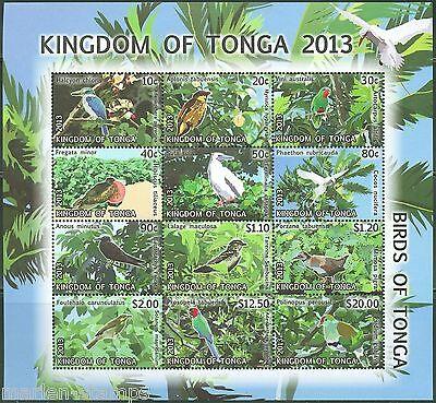 TONGA 2013 BIRDS OF TONGA SHEET  OF TWELVE  MINT NH AS SHOWN