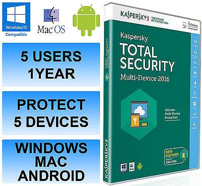 KASPERSKY TOTAL sicurezza internet 2016 multi-dispositivo 5 UTENTE 1 ANNO DVD