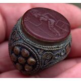 Large Very Old Hand Carved Carnelian Stone Intaglio NEPTUNE GOD Bronze Ring