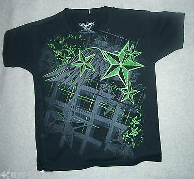 Boys Tee Shirt BLACK Green GLOW IN DARK Wings Stars Graphic XS 4-5 - Dark Black Teens