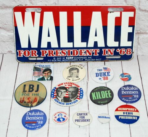 Vtg Election Pin Back License Plate Lot LBJ Wallace Humphrey The Duke 88 Reagan