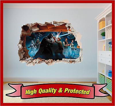 Star Wars Darth Vader Hole in Wall - Print Vinyl Sticker Decal Children Bedroom
