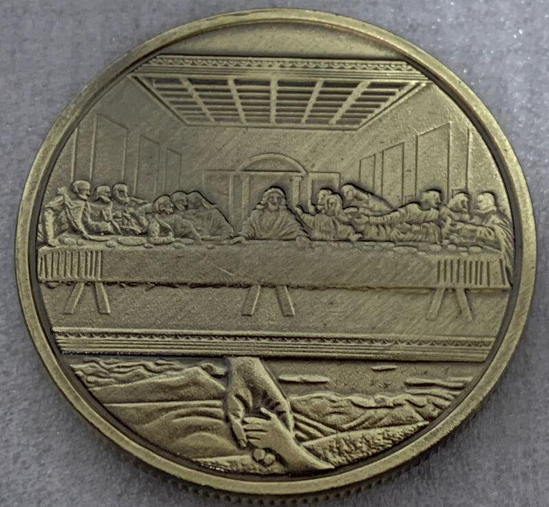 "* Jesus Christ & Last Supper Bronze PlatedMetal Coin *Great Religious Keepsake"""