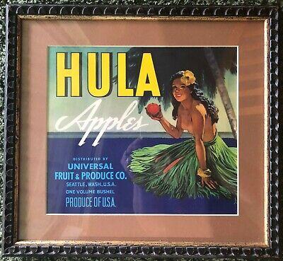 Vintage Original Carton Label of Hula Apples Hawaiian Girl, Framed