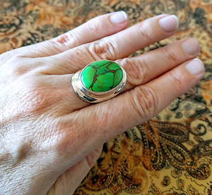 Green Mojave Turquoise Ring, sz 8 US, Silver, STUNNING, NEW, South Brisbane Brisbane South West Preview