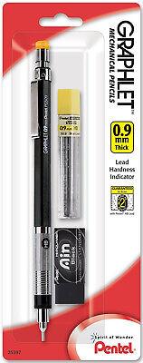 Pentel Graphlet Mechanical Pencil 0.9mm Black Hi-polymer Eraser 12 Leads 4mm Tip