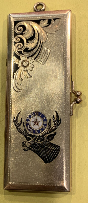 """RARE! Antique  'Order Of Elks'BPOE-Fob-1925Paid Dues Holder-Locket 1""""x3 Preowned"""