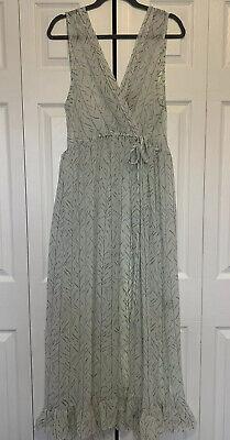 Womens Lee Mathews Silk Sleeveless Long Maxi Dress Sheer 4 Mint Green Gray Print