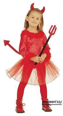 TEUFELIN Teufel Kostüm Klein Kinder, Mädchen rot 110 u. 116  Karneval
