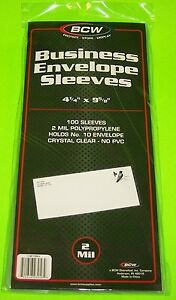100-10-ENVELOPE-FIRST-DAY-COVER-POLY-SLEEVES-CRYSTAL-CLEAR-ARCHIVAL-SAFE-BCW