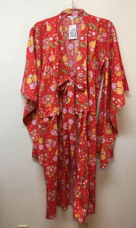 Yukata Kimono Cotton Tie Front Bright Color Floral POP On Pop Made in China NEW