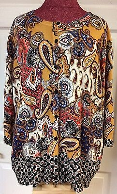 Joseph A  Womens Yellow Floral Paisley Button Up Sweater Cardigan Plus Size 1X