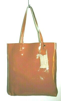 TIFFANY & FRED Women's Large Orange Patent Leather Tote Shoulder Bag NWT