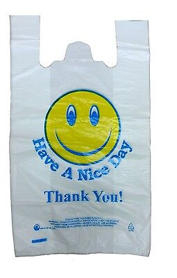100 Smiley Face Thank You Plastic Vest Carrier Bags 12