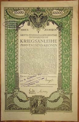 ÖSTERREICH AUSTRIA 3. Kriegsanleihe 10.000 Kronen 1915 Austrian War Loan