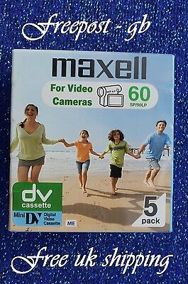 5 x MAXELL TOP QUALITY DVM-60 MINI DV DIGITAL CAMCORDER TAPE/ CASSETTES - NEW