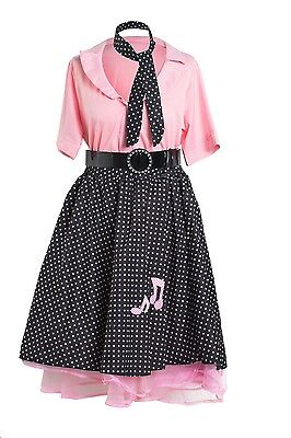 1950's Rock and Roll Fancy Dress Pink Size 8 10 12 14 16 18 20 - 1950 Fancy Dress Kostüm