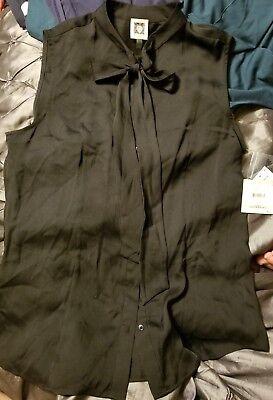 Anne Klein Tie - NEW Anne Klein Sleeveless Tie Neck Blouse Button Down Top, Size 10 NWT