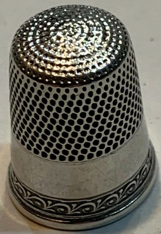 Simon Brothers Decorative Band Thimble, Sterling, Size 10