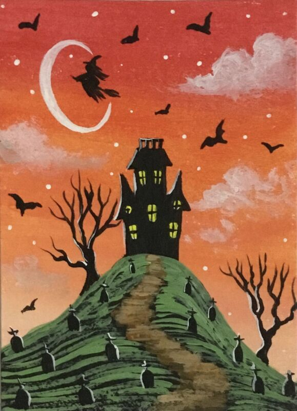 ACEO Original Halloween Mini Acrylic Sketch Card witch house tombstones bats