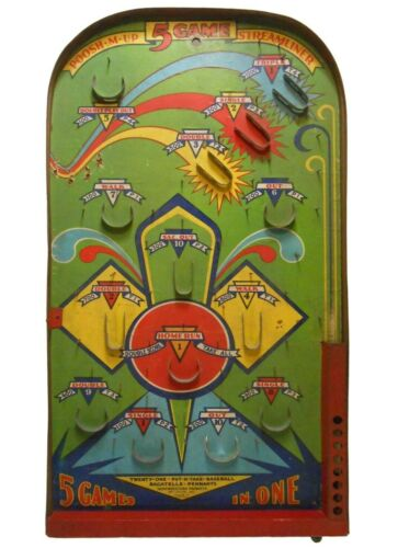 POOSH M UP 5 GAME STREAMLINER EARLY 20TH C AMERICAN VINT LITHOD TIN PINBALL GAME