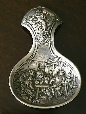 1880s Dutch Silver Tea Caddy - Embossed Image of Men Drinking in a Tavern (S60)