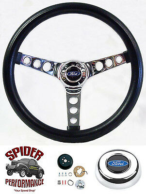 "1961-1964 Ford F-100 steering wheel BLUE OVAL 13 1/2"" CLASSIC CHROME"