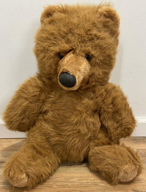 Vintage Heart Treasures Brown Fuzzy Plush Bear Stuffed Animal