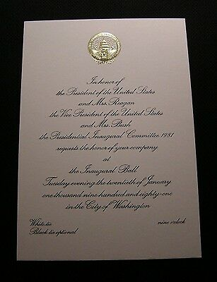 VINTAGE 1981 RONALD REAGAN INAUGURAL BALL INVITATION Inauguration Original NICE!