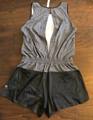 NWOT Lululemon Size 6 Getaway Romper Shorts Open Back Gray Black