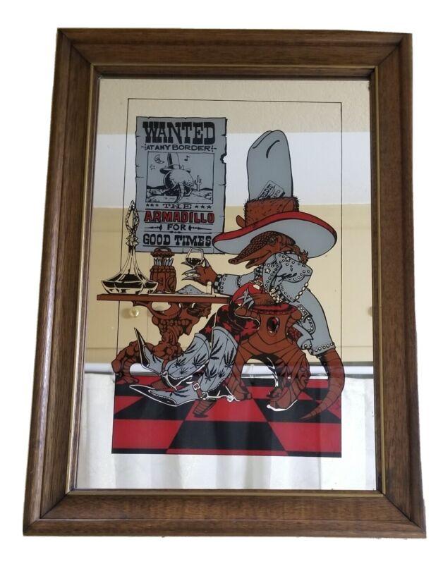 Vintage Wanted At Border Armadillo Wall Mirror Pub Bar Beer Whiskey Bourbon Sign