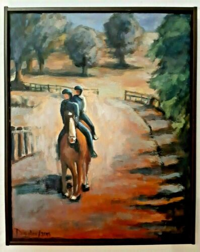 Oil Painting Equestrian Trail Riders Horse Impressionism USA Artist Original